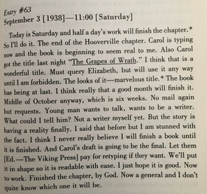 Working Days is the journal John Steinbeck kept as he wrote The Grapes of Wrath.