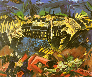 Burning City (reverse), (1913) Ludwig Meidner