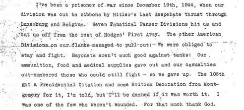 """In 1944 Private Kurt Vonnegut was captured and imprisoned in """"Schlachthof Fünf."""""""