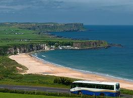 coach travelling along the irish coast