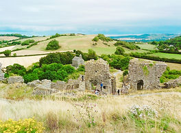 Rock of Dunamese and farmland