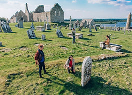 Clonmacnoise gravestones and ancient cathedral