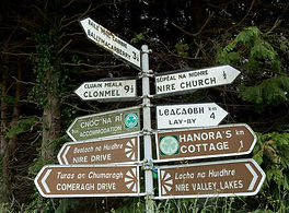 Sign post in Irish and English