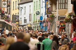 crowds on Shop Street in Galway City