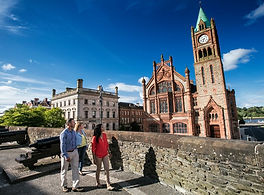 Derry guildhall and city walls