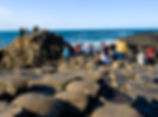 people clamber over the giant's causeway