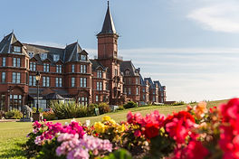 the iconic red bricked Slieve Donard hotel in Newcastle, County Down