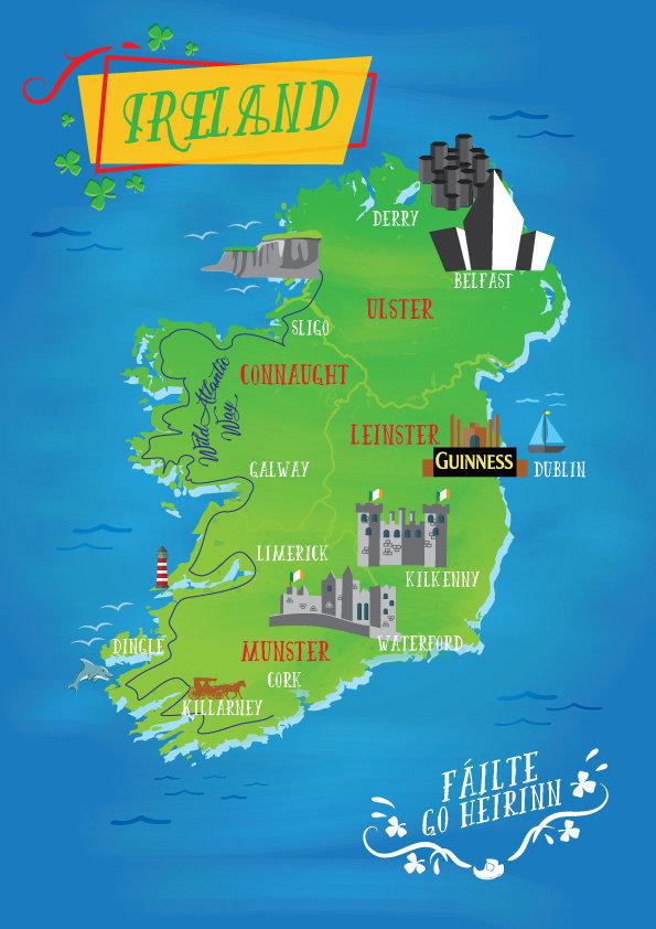 Tourism map of Ireland