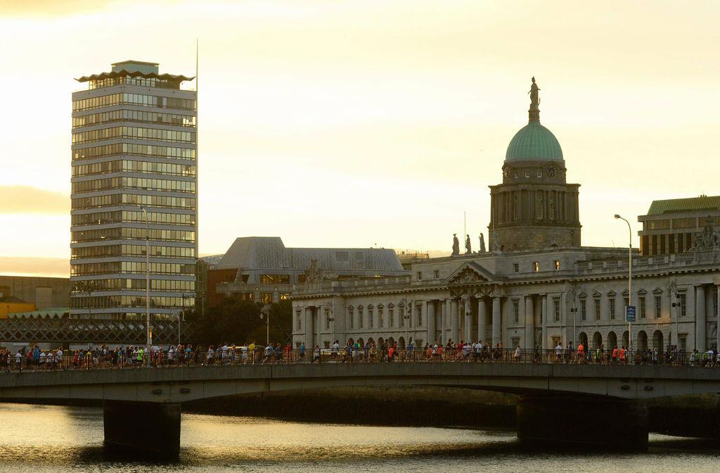 Runners against Dublin skyline