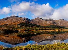 Connemara mountains reflect in lakes
