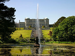 Powerscourt house and fountain at the start of the gardens
