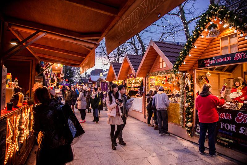Belfast Christmas market stalls