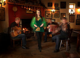 traditional Irish dancer and musicians
