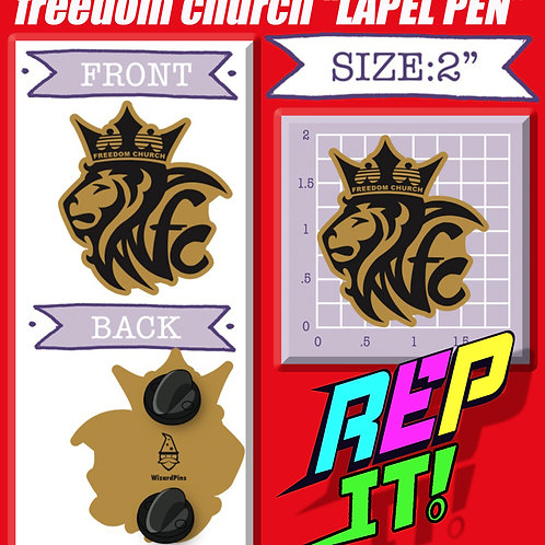 freedom church Lapel Pin (Gold Plated)