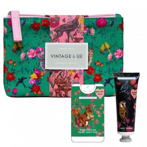 Cosmetic pouch with 30ml hand cream & 20ml hand sanitser