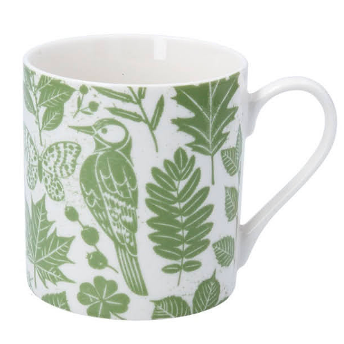 Gisela Graham Green Garden Study Bone china mug