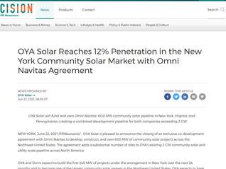 OYA Solar Reaches 12% Penetration in the New York Community Solar Market with Omni Navitas Agreement