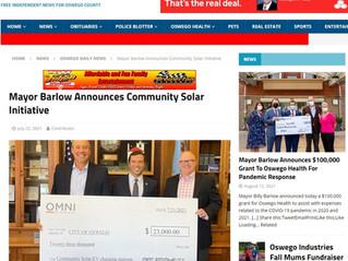 Mayor Barlow Announces Community Solar Initiative with Omni Renewables
