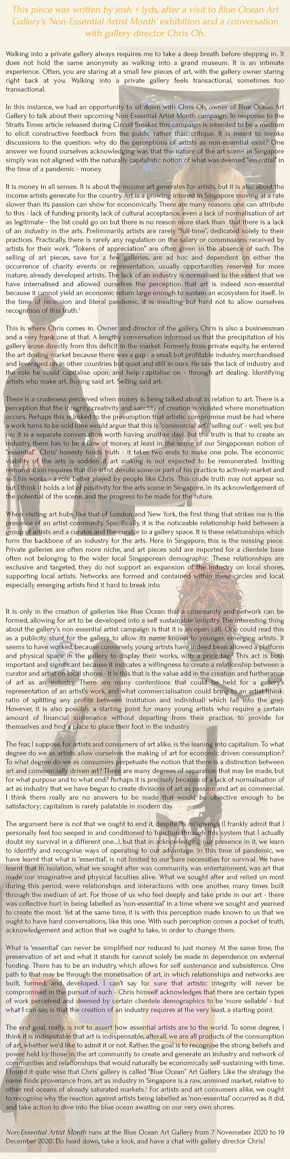 blurb magazine. blurbmag. Ruminations on art as non-essential. josh + lyds. arts & culture. @blurb.mag