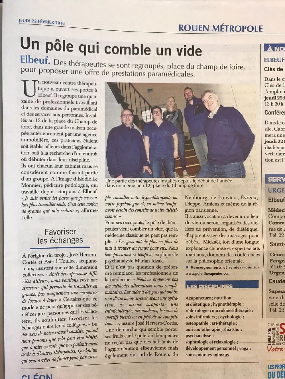 Paris Normandie Pole de Therapeutes Elbeuf Rouen 76 27 Marian Idczak José Herrero Cortes Loïc Choudat Elodie Le Monnier Michael Duchet