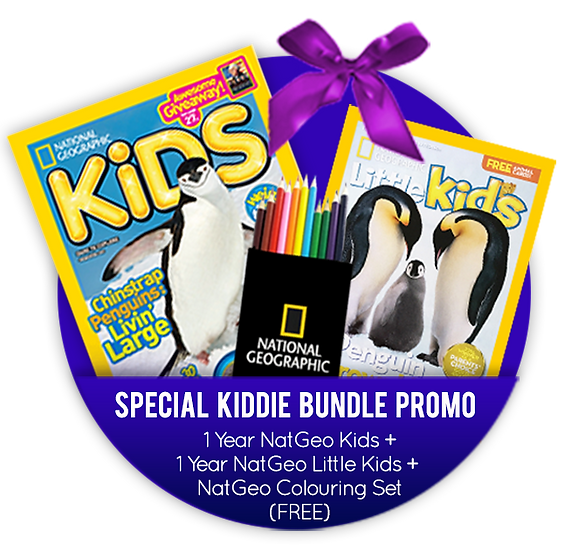 Kiddie Bundle - 1 Year NGK+NGLK Sub+FREE NatGeo Colouring Set(Hotel Jen)