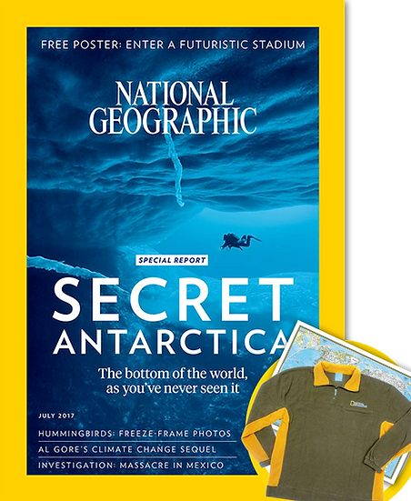 NatGeo Magazine w/FREE NatGeo Brown Fleece Jacket (PAC)