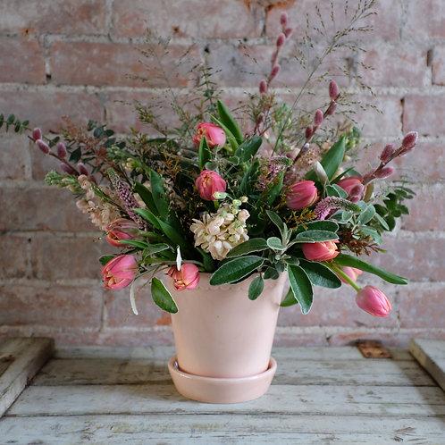 Blush Pink & Peach Spring Posy in Italian Pot