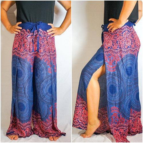 Blue Mandala Palazzo Wrap Pants, Hippie Pants, Boho Harem Flow Pants