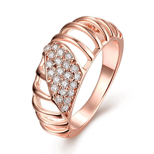 18K Rose Gold Plated Queen Eleanor Ring made with Swarovski Crystals