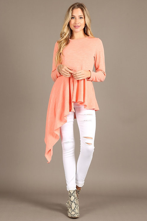1319 Hachi-slub solid long sleeve top, with round neck, pleated bottom