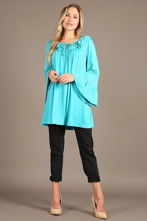 1179 Solid tunic top oversized fit, boat neck, long bell sleeves.