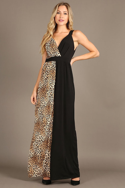 1291 Print, maxi dress, v-neckline, sleeveless, cinched waist
