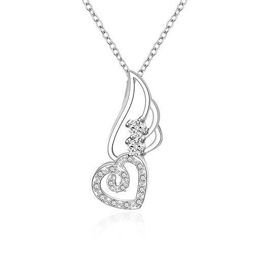 Sofia Necklace in 18K White Gold Plated with Swarovski Crystals