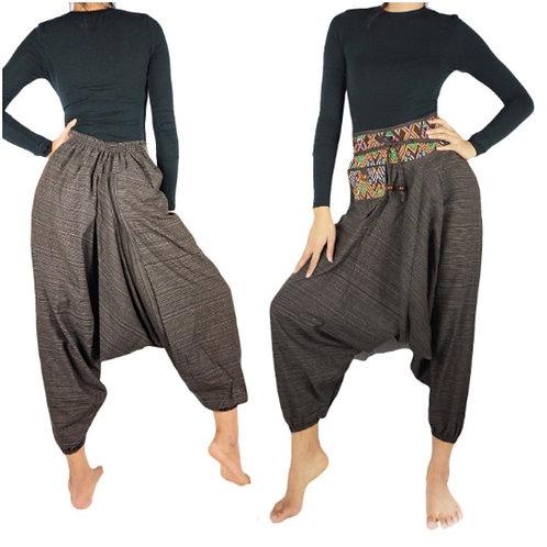 Brown Cotton Drop Crotch Women Tribal Boho Pants Hippie