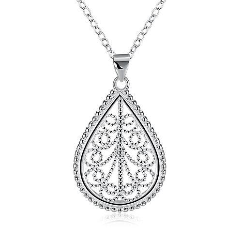 Teardrop Diamond Cut Necklace in 18K White Gold Plated with Swarovski