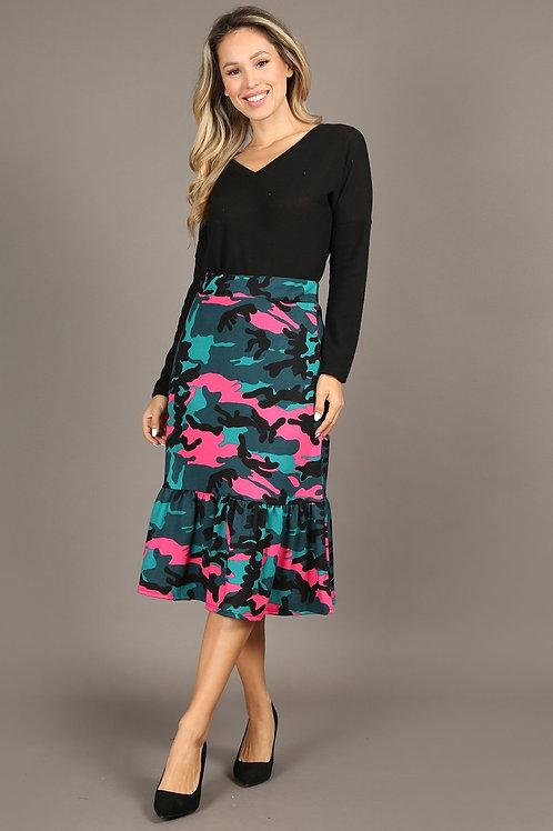 1306 Camo print, high rise, midi skirt, elastic waist, ruffle trim.