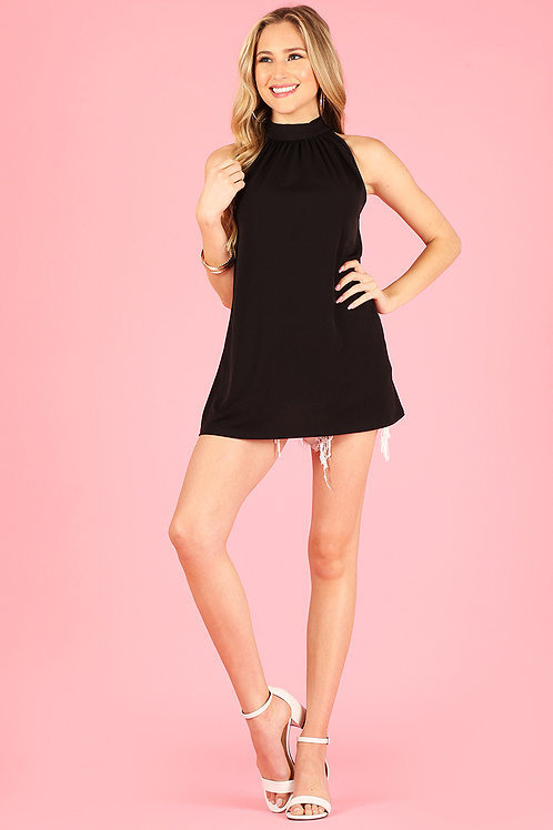 1289 Solid top, gathered mock neck, neck tie in the back.