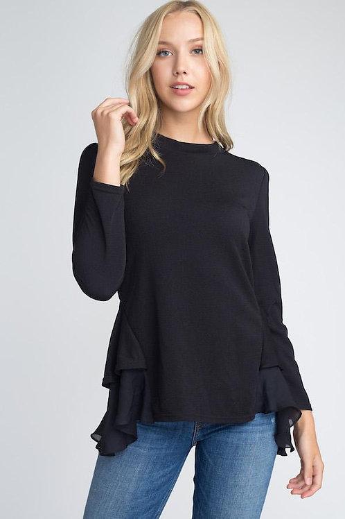 Women's Long Sleeve Ruffle Top