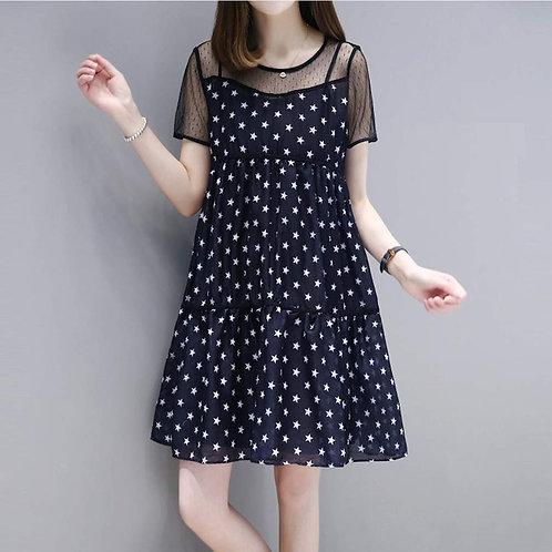 Womens Star Print Chiffon Dress