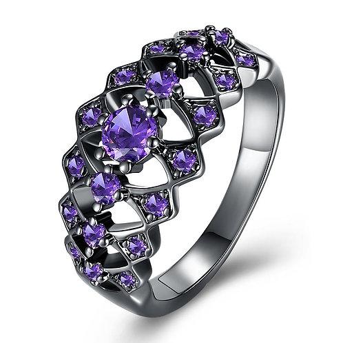 Vintage Black Plated Purple Alessandra Ring with Swarovski Crystals