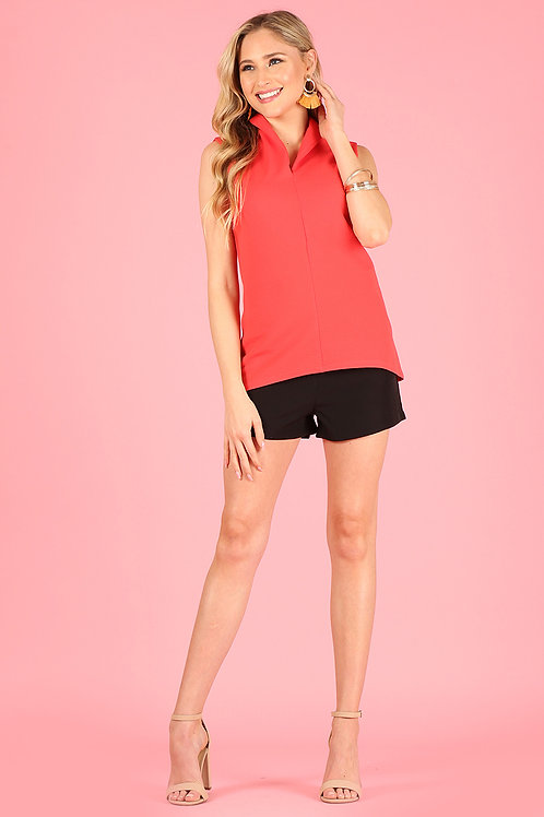 3001 Solid, sleeveless, V-neck mandarin collar top, relaxed fit.