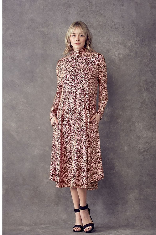 Print, midi A-line dress, loose fit, mock neck, side pockets.R1115