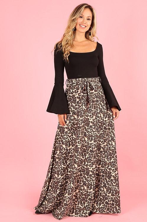 1214 Cheetah, high waist, a-line maxi skirt, loose fit, waist tie belt