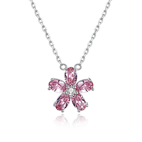 5 Pedal Flower Sterling Silver Necklace with Swarovski Crystals