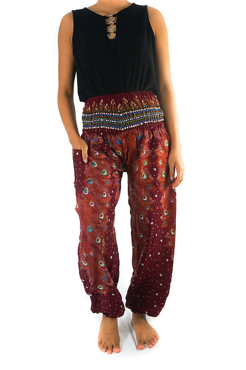 Burgundy PEACOCK Women Boho Pants Hippie Pants Yoga Pants