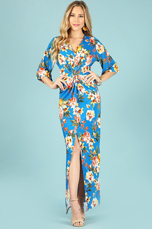 1288 Floral print maxi dress with center bodice twist.