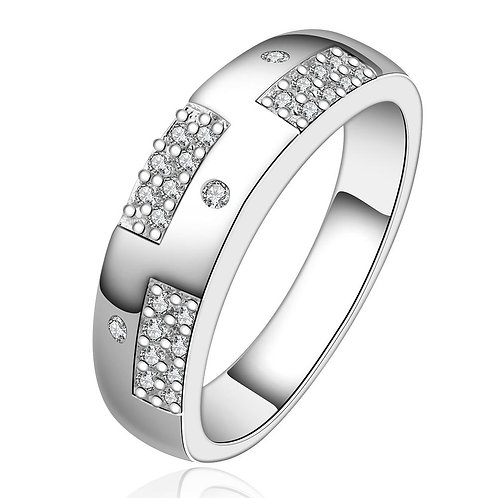 Silver Plating White Swarovski Pav'e Sleek Ring