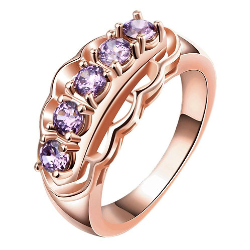 18K Rose Gold Plated Adrienne Purple Ring made with Swarovski Crystals