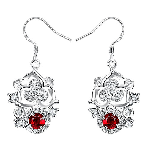 Drop Earring in 18k White Gold Plated with Swarovski Crystals