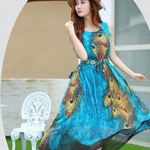 Sleeveless Peacock Theme Long Dress